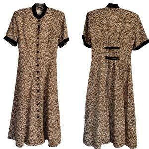 Vintage 80s 90s cheetah print Dress Button front 4